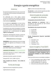 Nutrição Humana - Energia e gasto energético