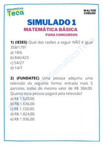 Simulado 1 - Matemática Básica para Concursos