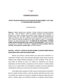 ASPECTOS SOCIOLÓGICOS DA RELAÇÃO ENTRE MACUNAÍMA, A CULTURA E O NACIONALISMO BRASILEIRO