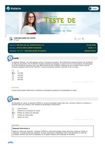 Teste de Conhecimento 06 - Contabilidade de Custos