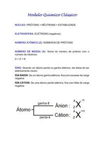 Modelo Químico Clássico - resumo