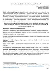 Anotações sobre Enfermagem, Saúde Ambiental e Educação Ambiental