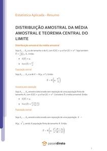 Distribuição amostral da média amostral e Teorema Central do Limite - Resumo