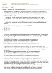 Avaliação Final - Didática e Formação do Professor - Uniasselvi