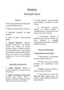 Resumo de História - Revolução Russa