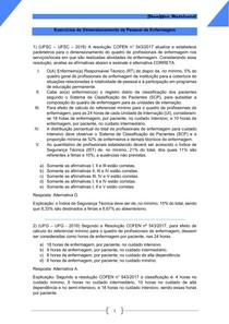 Exercícios de Dimensionamento de Pessoal de Enfermagem
