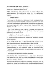 FICHAMENTO | Filosofia do direito | Introdução à Analise do Direito (Carlos santiago nino)
