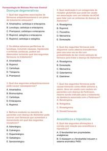 Questões sobre a Farmacologia do SNC + gabarito
