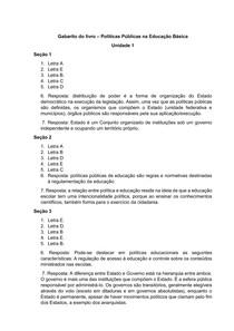 GABARITO DO LIVRO POLÍTICAS PÚBLICAS NA EDUCAÇÃO BÁSICA