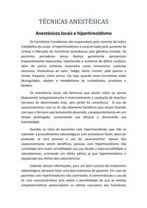 Anestésicos locais e hipertireoidismo