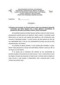ATIVIDADE SOBRE CORPO GÊNERO E SEXUALIDADE