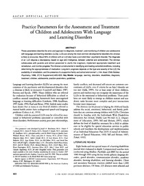 1998 AACAP Practice Parameters for the Assessment and Treatment of Children and Adolescents With Language and Learning Disorders