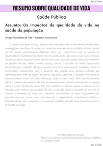 RESUMO SOBRE QUALIDADE DE VIDA - ARTIGO
