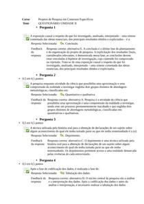 Projetos de Pesquisa em Contextos Específicos  questionário II unip