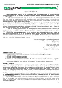 MEDRESUMOS 2016 - BIOÉTICA 08 - Terminalidade da vida
