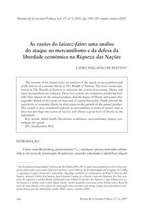 As razões do laissez-faire- uma análise do ataque ao mercantilismo e da defesa da liberdade econômica na Riqueza das Nações (1)