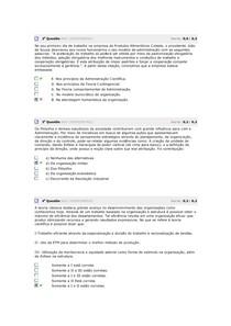 Teoria das Organizações exercícios