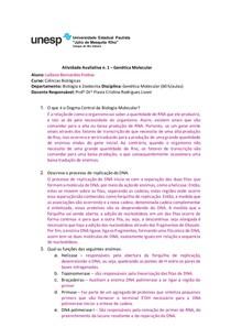 Atividade Avaliativa n 1 para Genética Molecular