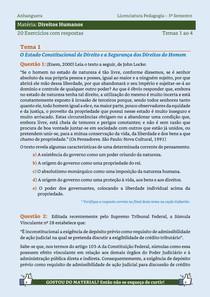 Direitos Humanos - 20 Exercícios resolvidos dos Temas 1 ao 4