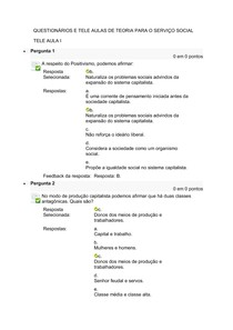 QUESTIONÁRIOS E TELE AULAS DE TEORIA PARA O SERVIÇO SOCIAL