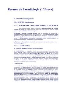 Resumao Parasitologia - 1 Prova