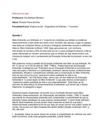 Ciências do Amb. - AV1 - Trabalho (exercício avaliado)