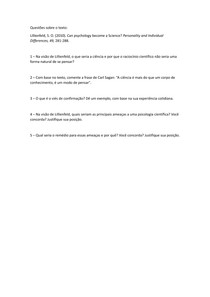 Questões sobre o texto de Lillienfeld (2010)