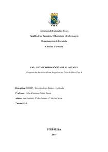 Relatório - Análise Microbiológica de Alimentos