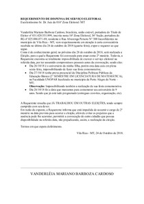 REQUERIMENTO DE DISPENSA DE SERVIÇO ELEITORAL
