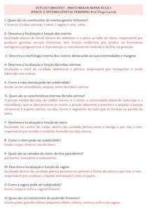 ESTUDO DIRIGIDO - SISTEMA GENITAL FEMININO