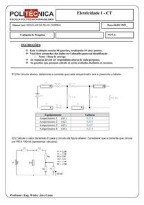 Avaliação de Pesquisa Eletricidade I - CT