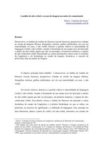 A análise do não verbal e os usos da imagem nos meios de comunicação - Tânia Clemente