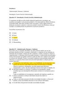Apol 2 Nota 100 Administração Sistemas E Ambiente E Introdu