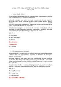 APOL 2 - ARTE E CULTURA POPULAR - ELETIVA I NOTA 100 (12 QUESTÕES)
