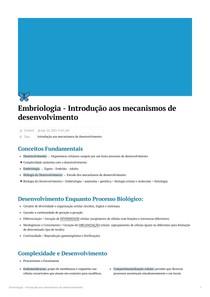 Embriologia - Introdução aos mecanismos de desenvolvimento