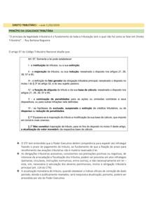 DIREITO TRIBUTÁRIO I - PRINCÍPIO DA LEGALIDADE TRIBUTÁRIA - MITIGAÇÃO DO PRINCÍPIO DA LEGALIDADE TRIBUTÁRIA - PRINCÍPIO DA ANTERIORIDADE TRIBUTÁRIA -