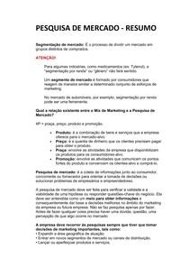 PESQUISA DE MERCADO - RESUMO INTRODUTÓRIO