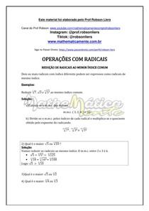 RADICIAÇÃO AULA 9 - REDUÇÃO AO MENOR ÍNDICE - PROF ROBSON LIERS