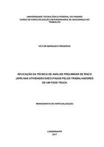 APLICAÇÃO DA TÉCNICA DE ANALISE PRELIMINAR DE RISCO (APR) NAS ATIVIDADES EXECUTADAS PELOS TRABALHD