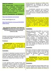 DUDH  Declaração universal dos direitos humanos  comentada com base na CF de 1988   Prof. Ravan Leão
