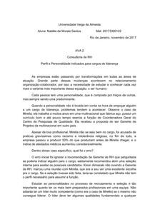 AVA 2 TEORIAS DA PERSONALIDADE  - Universidade Veiga de Almeida
