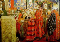 Andrey Ryabushkin  - Russian Women of the XVII century in Church