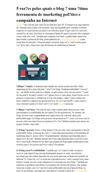 5 razões pelas quais o blog é uma ótima ferramenta de marketing político e campanha na Internet