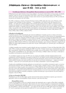 ECONOMIA BRASILEIRA CONTEMPORÂNEA - Resumo Capitulo 7 - Parte 1- Estabilização, Reformas e Desequilíbrios Macroeconômicos - Os anos de FHC - 1995 a 1998