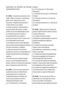 100 Questões ESA Historia COM GABARITO