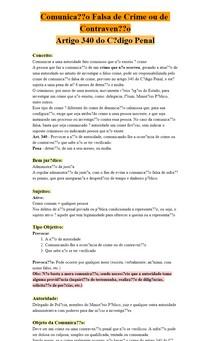 Comunicação Falsa de Crime ou de Contravenção - Artigo 340 CP