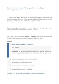 Apol 2 Administração pedagógica: instrumentos legais