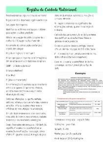 Registro do Cuidado Nutricional - Resumo de Terapia Nutricional