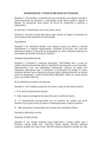 APANHADÃO DE 11 PROVAS MÉTODOS DE PESQUISA