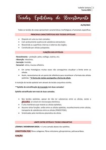 Tecidos Epiteliais de Revestimento e Glandulares (+ Simulado).